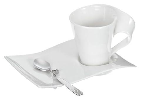 Villeroy & Boch NewWave Caffè Cappuccino Set / Service in modernem Design aus weißem Premium Porzellan / spülmaschinenfest / 1 x Set