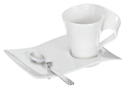 Villeroy & Boch NewWave Ensemble café / cappuccino - Service au design moderne en porcelaine blanche de grande qualité - Passe au lave-vaisselle - 1 lot (6 pièces)