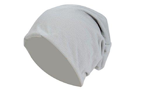 Jersey Baumwolle Long Beanie Slouch Unisex in versch. Farben, leicht und weich, Longbeanie (Hellgrau) (Kopfbedeckung Unisex)