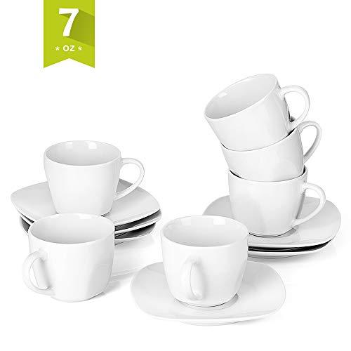 MALACASA, Serie Elisa, 12 teilig Set Cremeweiß Porzellan Kaffeeservice Teeservice, je 6X Kaffeetassen mit 6X Untertassen für 6 Personen