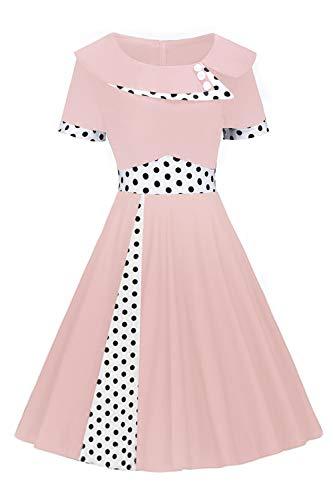 MisShow Robe de Soirée Courte Chic Imprimée Pois Vintage année 1950s Style Audrey Hepburn Mi Longue Pin up Rose S