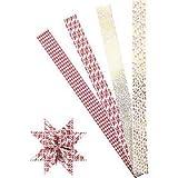 Papierstreifen für Fröbelsterne, B 40 mm, D: 18 cm, Weiß, Gold, Rot, XL - Metallfolie, 40Streifen, L 100 cm