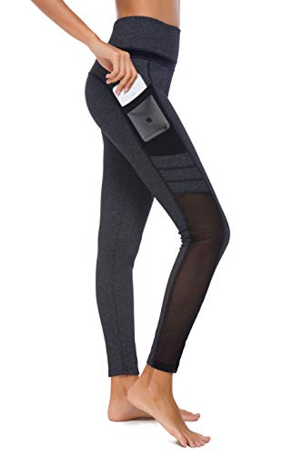 Munvot Damen Sporthose Sport leggings Tights, U3916 - Dunkel Grau (Tech Mesh), XS (DE34-36)