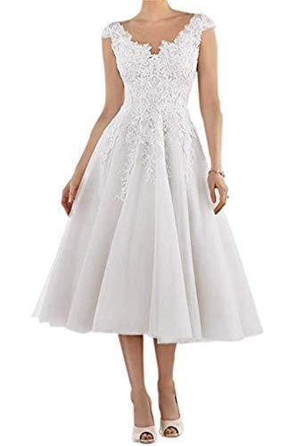 Cloverbridal Damen Elegant Hochzeitskleider Teelänge Spitze Applikationen Brautkleider...