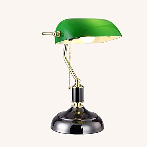 Silk Road Schreibtisch-Lesetisch-Lampe des Traditionellen Antiken Bankers Mit GrüNem Glasfarbton Und Legierung Beleuchtet Unterseite E27