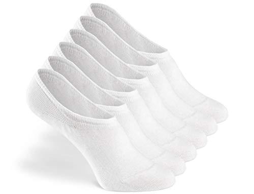 Greylags PREMIUM Invisible Sneaker Socken, rutschfest, 6 Paar - gekämmte Baumwolle bequem ohne drückende Naht in weiß - 39-42
