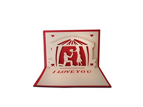3d pop up i love della busta per biglietto d' auguri amore proposta di matrimonio carta regalo con scarlet e love kraft sticker anniversario, san valentino, handmade craft kirigami
