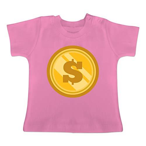 Karneval und Fasching Baby - Münze Kostüm - 6-12 Monate - Pink - BZ02 - Baby T-Shirt (Münze Für Kostüm)