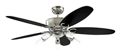 31xKB8Dt8sL - Westinghouse Ceiling Fans 72559 Arius Light 132 cm Five-Blade Indoor Ceiling Fan, Chrome Finish with Opal Frosted Glass