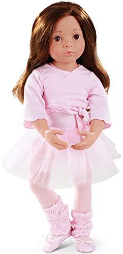 Götz Puppe Happy Kidz Sophie geht zum Ballett – 50 cm große Multigelenk-Stehpuppe, braunes, langes Haar, braune Augen, Spielzeug für Mädchen ab 3 Jahren (9-teiliges Set)