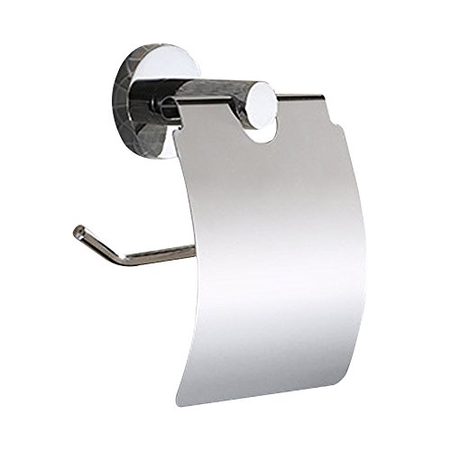 Pingenaneer Portarotolo per Carta Igienica Supporto Porta Rotolo con Coperchio in Acciaio Cromato