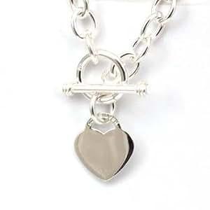Olivia - 925er Sterling Silber - Süßes Damen Armband mit Herz Anhänger mit T-Verschluss,19cm lang - CL282