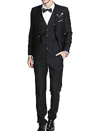 Trajes para Hombre 3 Piezas Slim Fit Clásico Formal de la Boda Chaquetas de  Traje de Smoking Un botón de un Solo… 56e782516b5d