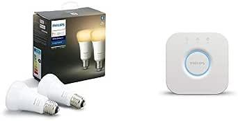 Philips Hue White Ambiance, Lampadine LED Intelligenti, Attacco E27, 8.5W, 2 Pezzi [Classe di efficienza energetica A+] con Philips Hue Bridge, Controllo del Sistema, Bianco