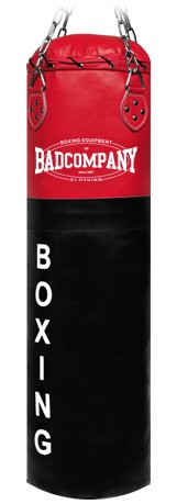 Deluxe Leder Boxsack schwarz / rot 100 x 35cm ungefüllt inkl. Heavy Duty Vierpunkt-Stahlkette