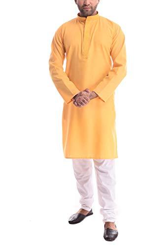 Royal Kurta Herren Pyjama aus Baumwolle, bestickt Gr. 54, gelb -