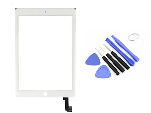 R.P.L. Original Digitizer passend für Apple iPad Air 2 Weiss White/Frontglas / Glas/Displayglas / LCD Reparatur/LCD Display/Touchscreen / LCD Replacement / 8 - Teiliges Werkzeugset Tools