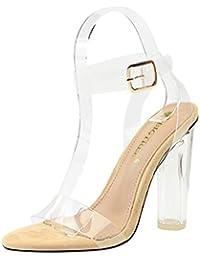 18b44c3bb9 Sandalias de Verano para Mujer Resbalón en Bloque Zapatos de tacón Alto  Bombas de Vestir Transparentes