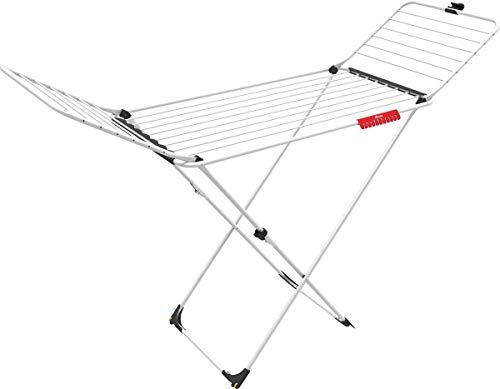 Vileda Extra - Tendedero X-legs de acero y aluminio, con alas plegables, 20 metros de espacio de tendido, con soporte para artículos pequeños, dimensiones abierto 173 x 56 x 93 cm, color blanco