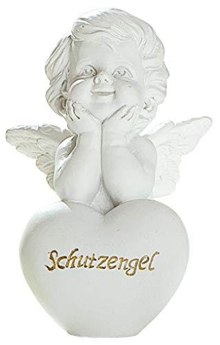 dekojohnson - Schutz-Engel Figur Herz Weiss Grabschmuck Grabdeko liebevolle Grab-Engel Skulptur wetterfest - 8cm Gross -