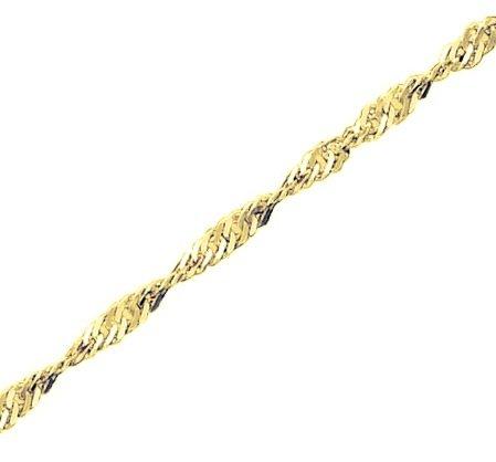 Genuine-larga, in argento Sterling placcato oro 18 kt, con pendente a Disco con catena Singapore, motivo vigneto, Placcato oro, cod. FR30Y-18