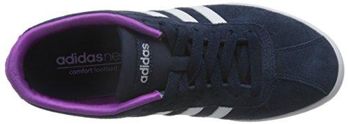 adidas Damen Courtset W Turnschuhe, Schwarz Schwarz / Weiß / Violett (Maruni / Ftwbla / Rosdes)