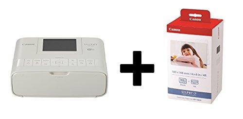 Canon SELPHY CP1300 Fotodrucker inkl. Druckpatrone/ Papiersatz für 108 Ausdrucke (Thermosublimation, USB, WLAN, LC-Display, AirPrint, Mopria, SD-Slot) (Weiß)