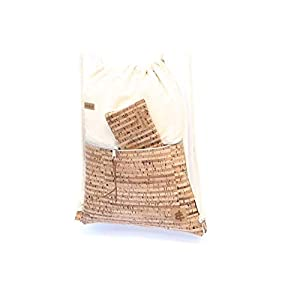 Rucksack aus Baumwolle in SAND mit einer Reißverschluss-Aussen-Tasche aus Kork-Leder in STRIPES (Streifen/gestreift).