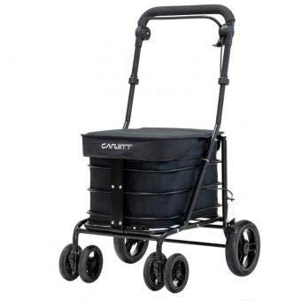 Carlett Lett700 Deluxe Walk & Rest Folding 6 Wheel Swivel Shopping Trolley with Seat Park Brake and Safety Brake
