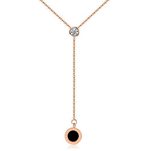 Dixinla Halskette Anhänger, Titanium Stahl Rose Gold Mode süßen Runden Kuchen Diamant Damen Schlüsselbein Halskette Geschenk für Familie oder Freunde