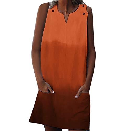 Strungten Rundhalsausschnitt Frauen Tunika Kleid V-Ausschnitt Beiläufige lose Passform Farbverlauf Ärmellose Tasche Lose Beiläufige Tank-Taste Minikleider - Agent-laptop-tasche