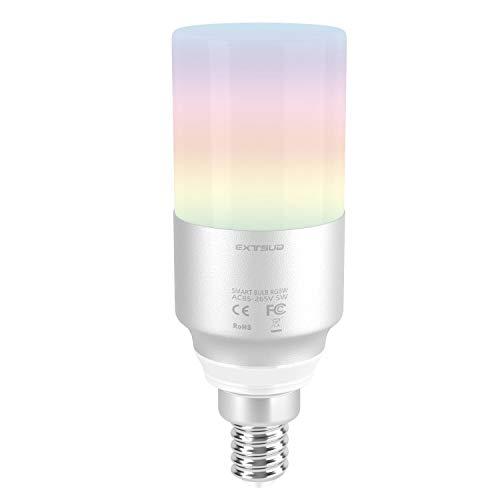 EXTSUD Lampadina Intelligente E14 WiFi Smart Bulbo RGB Dimmerabile 5W Led Lampada 2700K-6500K Regolabile Compatibile con Amazon Alexa Echo Controllo App Smartphone iOS&Android Equivalente a 60W