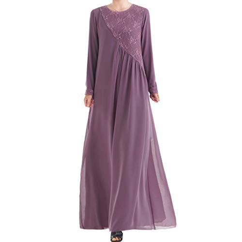MMOOVV Muslimische Frauen kleiden Kaftan islamischen Maxi-Kleid Langarm arabischen Kostüm Hochzeit Kleid Cocktail (Lila XL)