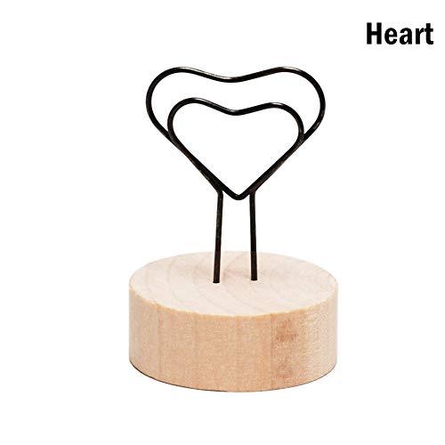 VIVIANE Kreative Runde/Quadratische Hölzerne Foto Clip Memo Name Karte Anhänger Inhaber Hinweis Artikel Bilderrahmen Tisch Nummer Foto Inhaber (Color : Heart) - Foto-hinweis-card-inhaber