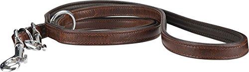 Knuffelwuff Basic Plus Leder Hundeleine Braun Führleine mehrfach verstellbar Länge 200cm, Breite 2,0cm
