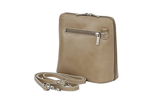 AMBRA Moda - Borsa di pelle a tracolla Donna, borsa piccolo naturele