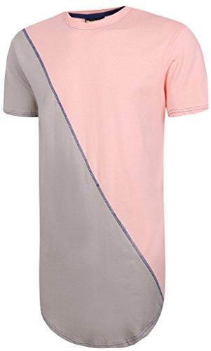 Pizoff Herren T-Shirt Länge asymmetic kontras Modus-basierten Straße Hip-Hop langes T-Shirt unisex Tops Sommer Y1293-PinkGrey-L