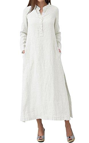 VEVESMUNDO® Damen Maxikleid Leinenkleid Baumwolle Kleid Sommerkleid  Strandkleid Lange Kleider 34 36 38 40 42 44 46 48 (Weiß, Etikett 3XL EU 44) efea49494c