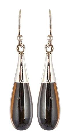 Stylish Fashions 925 Streling Silver Women Earring (Size : 3.8 CM   Tiger Eye Natural Gemstone)