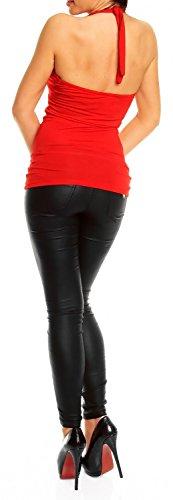 Glamour Empire Damen Hübsches Top mit Neckholder Ärmelloses Figurumspielende 167 Rot