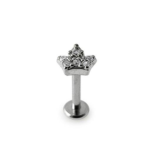 Labret lèvre taillé interne acier chirurgical 316L 16G avec Top en couronne en pierre sertie.