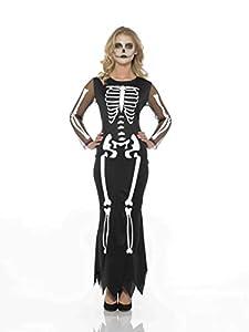 Karnival Costumes- Halloween Skeleton Dress Disfraz, Color blanco y negro, large (84208)