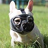 JYHY Maulkorb für Hunde mit abgeflachter Schnauze-verstellbar, atmungsaktiv: Englische Bulldogge, Französische Bulldogge, Pekingese, Shih-Tzu, Mops, auch für Katzen geeignet. Grau(Die Augen) M