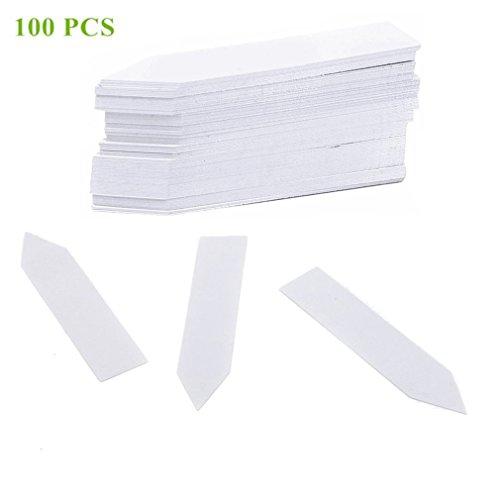 Qiorange 100 Pièces 100 mm Plastique étiquettes de Plantes / Marqueur de Jardin , Multicolores (100 Pcs Blanc A)