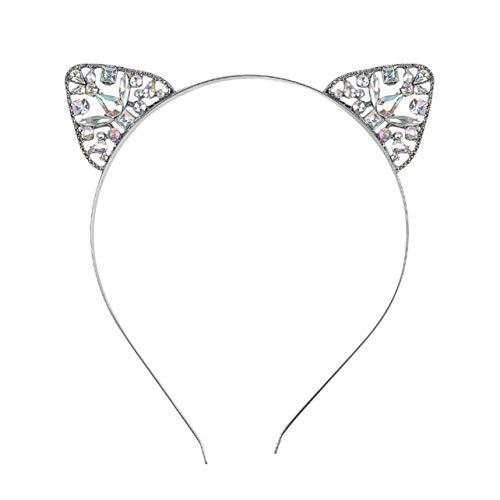 Monllack Frauen Mädchen Haarband Glitter Kristall Strass Katze Ohr Stirnband Hairband Kostüm Party Haarband Zubehör