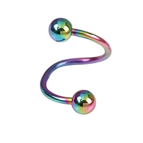 Pixnor 2 x S unisexe multifonction élégant Twist nez lèvres sourcils bague boucle d'oreille nez Stud (coloré)