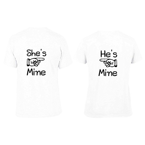 He is mine She is mine Couple Tshirts Dri-Fit White Men - S