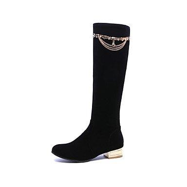 RTRY Scarpe da donna in pelle Nubuck Autunno Inverno Comfort moda Stivali Stivali tacco piatto Round Toe stivali Mid-Calf rivetto per vestire Office & carriera US8 / EU39 / UK6 / CN39