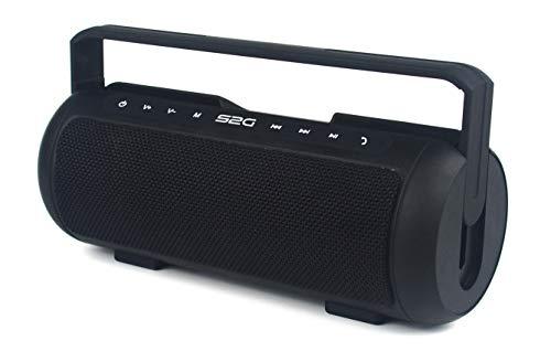 S2G TUBE Stereo Bluetooth Lautsprecher, UKW FM Radio, USB, Micro SD, Freisprecheinrichtung, kraftvoller Bass, Tragegriff, Outdoor, Indoor – Schwarz