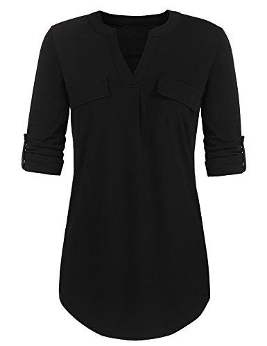 Parabler Damen Bluse Chiffon V-Ausschnitt Langarm Shirt Locker Freizeit Langarmbluse Blusenshirt Tunika Oberteil Tops Schwarz XXL